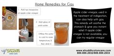 Home Remedies for Gas:- Apple cider vinegar, used in the treatment of indigestion, can also help with gas. This remedy will soothe the stomach & give you instant relief. If apple cider vinegar is not available, you can try regular vinegar More Info - >http://www.shuddhcoloncare.com/benefits.html #HomeRemedies #Gas #StomachGas #GasProblem‬