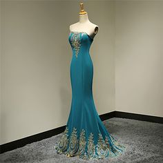Formal Evening Dress Trumpet/Mermaid Strapless Floor-length Satin Dress – USD $ 89.99