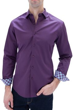 "Stone Rose ""Mia 910"" Purple 100% Cotton Mens Dress Shirt  Price:	$144.00"
