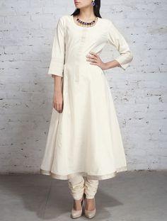 Ecru Zari Embroidered Mangalgiri Cotton Kurta