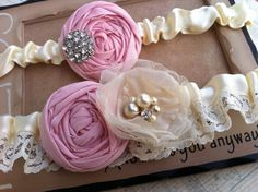 Pink and Champagne Ivory Cream Bridal Garter Set... Ivory lace with Rhinestones and Pearls Customize-able to match you Wedding colors