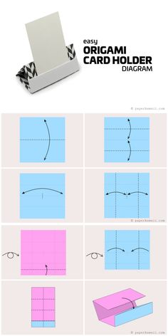 Origami Card Holder Diagram - Paper Kawaii #origami #diagram