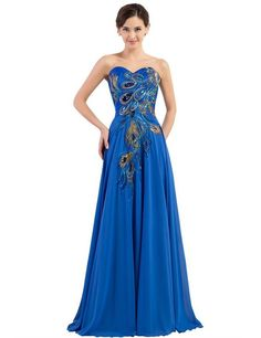 Graceful Long Strapless Embroidery Prom Dress A-line