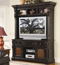 Telluride Entertainment Console with Hutch in Distressed Black Paint Finish by Hooker Furniture Entertainment Center Furniture, Home Entertainment Centers, Entertainment Stand, Howell Furniture, Hooker Furniture, Furniture Direct, Fine Furniture, Accent Furniture, Furniture Catalog