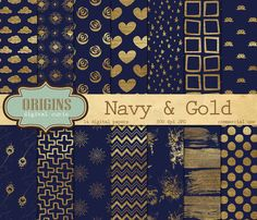 This is a pack of 14 navy blue and gold paint digital papers. Each paper measures 12 x 12 inches (30.5 x 30.5 cm) and has 300 dpi resolution