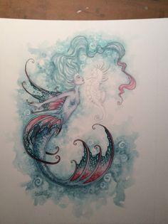 Fairy Art Artist Amy Brown: The Official Online Gallery. Fantasy Art, Faery Art, Dragons, and Magical Things Await. Mermaid Artwork, Mermaid Drawings, Mermaid Tattoos, Mermaid Prints, Seahorse Drawing, Mermaid Sketch, Seahorse Tattoo, Seahorse Art, Images Victoriennes