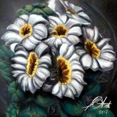 Pastel on Board. Cactus Blossoms, Art Gallery, Pastel, Board, Artwork, Plants, Art Museum, Cake, Work Of Art