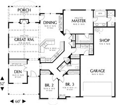 single story house floor plans | Plan W69022AM: Northwest, Cottage, Photo Gallery House Plans & Home ...