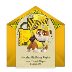 Free birthday party invitation with a PAW Patrol design featuring Rubble. Love this design for a PAW Patrol birthday party or construction birthday party!