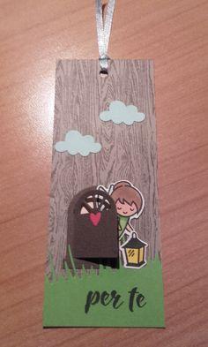 Un segnalibro con timbri e fustelle della Lawn Fawn, ma per fare la scritta  ( e le nuvolette) sempre un timbro e fustelline omaggio  di www.lacoppiacreativa.com