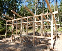 Attefallshus Linköping Cabin House Plans, Tiny House Cabin, Tiny House Design, Cabin Homes, Timber Frame Cabin, Timber Frames, Small Lake Houses, Contemporary Cabin, Rustic Home Design
