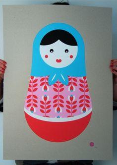 Metryoshka Russian Doll Print