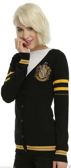 As you're walking through the halls at school, pretend you're a student at Hogwarts while wearing this cardigan from Harry Potter. It's black with an embroidered Hufflepuff house crest, yellow stripes and front botton-up closure. | eBay!