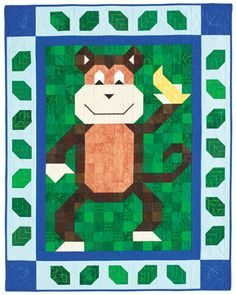 Whimsical monkey plays on an adorable pieced crib quilt. Banana PatchMay/Jun 12  Buy this issue(print) Buy this digital issue Buy the kit (includes the pattern)   Reader Rendition: Banana Patch made by Bonnie Floyd of Albuquerque, New Mexico. Bonnie made this monkey into a girl with color changes and appliqued bows and flowers.