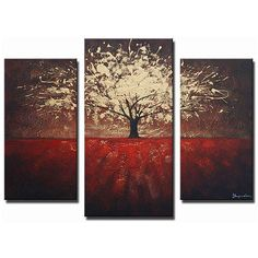 Create a dramatic focal point in any room with this extra-large abstract hand-painted canvas art. 'Golden Foliage' displays a warm red field with a gorgeous golden tree with a burgundy background, which splays across three ready-to-hang canvases.