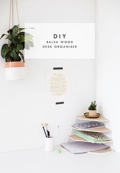 DIY balsa wood desk organiser for your wokspace | easy craft ideas