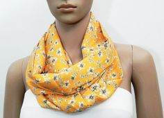 Orange Scarf Pastel Scarf Floral Scarf Orange Infinity Scarf - Loop Scarf Shawl Scarf – Summer Infinity Scarf Gift for her Cowl Scarf by FashionPopups