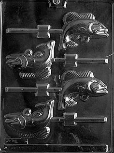 Nautical FISH LOLLY Chocolate Candy Mold  3 long