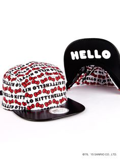 """Keep the sun off in a supercute way: New Era x Hello Kitty Camper Cap with surprise """"Hello"""" peak in black."""