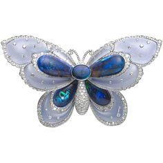 Opal Chalcedony Diamond Platinum Butterfly Brooch #AustraliaOpal