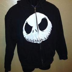 Disney Nightmare Before Christmas Jack Skellington Full-Zip Hoodie Sweatshirt S
