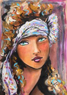 The Angel... (Peinture) par Dam Domido Portrait art déco Portrait rétro