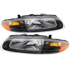 Blk 1996 1997 1998 1999 2000 Chrysler Sebring Convertible Headlights Replacement Left+Right Set 96 97 98 99 00 5263987AB, 5263986AB,CH2502116, CH2503116, Black