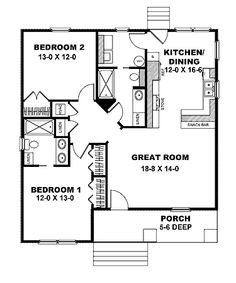 Floor Plans AFLFPW05402 - 1 Story Craftsman Home with 2 Bedrooms, 2 Bathrooms and 1,073 total Square Feet