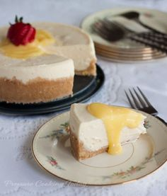 """Rich, creamy Pressure Cooker Meyer lemon cheesecake """"baked"""" in a pressure cooker in just 15 minutes. Top with tart lemon curd for the best dessert recipe!"""