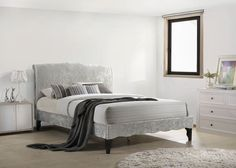 Carlo French Provence King Size Bed Frame 5Ft 150cm Ice Grey Crushed Velvet  | eBay