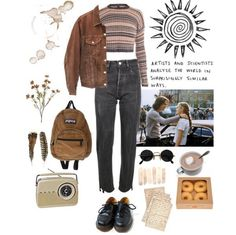 That artsy style💛🌸🌊 Mode Outfits, Grunge Outfits, Winter Outfits, Casual Outfits, 90s Fashion, Fashion Outfits, Womens Fashion, Lila Make-up, Mode Grunge