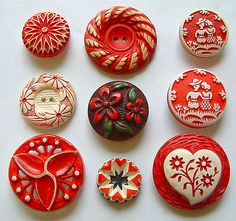 Vintage Red White Floral Buffed Celluloid Buttons
