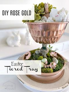 Easter Rose gold tiered tray with moss and faux flowers Kitchen Pans, Above Kitchen Cabinets, Rose Gold Metallic Paint, Sweet 16, Christmas Lodge, Speckled Eggs, Easter Dinner Recipes, Tiered Stand, Painted Sticks