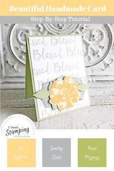 Come check out how I used one stamp to make this super easy DIY background for this gorgeous card. It's fast, easy and totally customizeable! Label Shapes, Background Diy, Diy Cards, Craft Cards, Beautiful Handmade Cards, Ink Pads, Sympathy Cards, Stamping Up, Free Paper