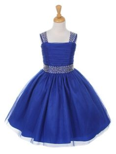 Royal Blue Bling Shiny Studded with Rainbow Rhinestone Flower Girl Dress in Sizes 2-14 in 5 Colors - Flower Girl Dresses - GIRLS