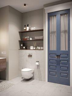 64m2-es lakás természetes és semleges színekkel, besétálós gardróbbal, biokandallóval és projektorral