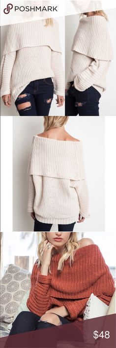 SYDNEY knit off shoulder sweater top - CREAM Chunky knit off shoulder sweater top. ALSO AVAILABLE IN RUST, CREAM AND MUAVE !  !!NO TRADE, PRICE FIRM!!! Bellanblue Tops