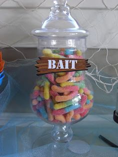 Finding nemo Party Decor for Under the Sea Party - Fish Bait. by Denise Little Mermaid Birthday, Little Mermaid Parties, First Birthday Parties, Birthday Party Themes, Birthday Ideas, 5th Birthday, Mermaid Birthday Party Ideas, Baby Shower, Under The Sea Party