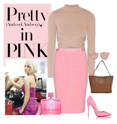 """Pretty in Pink!"" by brandonandrews500 ❤ liked on Polyvore featuring Jonathan Simkhai, Nina Ricci, Christian Louboutin, Tory Burch, Victoria's Secret and Le Specs"