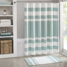 This rich taupe pieced shower curtain with a white waffle weave texture make you feel like your at a spa.