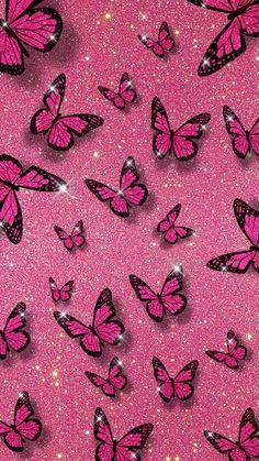 Pink Glitter Wallpaper, Pink Wallpaper Girly, Butterfly Wallpaper Iphone, Purple Wallpaper Iphone, Iphone Background Wallpaper, Retro Wallpaper, Pink Wallpaper With Butterflies, Pink Wallpaper Backgrounds, Screen Wallpaper