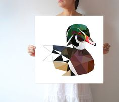 L77 Wood Duck Large wall art Modern Geometric by villavera