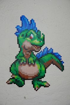 Perler bead dragon by Lucy Bad Dog add wings and you have a dragon