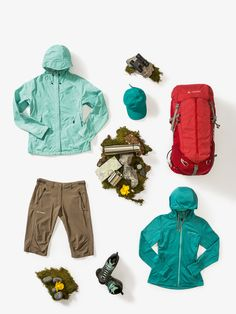 Bring some colour to the mountains with this beautiful trek & hike outfit!  Wo Lierne Jacket Wo Civetta Jacket Wo Rokua Bermuda Softshell Cap Wo Dibona Advanced Mid STX Wo Brentour 42+10