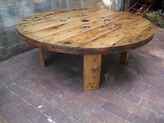 Industrial Cable Spool Coffee Table by RefabWood on Etsy