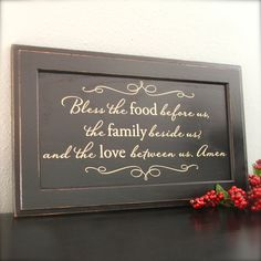 Black and Cream Sign on repurposed wood - Bless the food before us, the family beside us, and the love between us