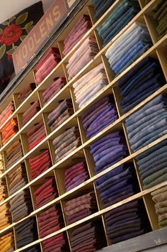 organize your sewing room: Keep the height between shelves to a minimum. That way, pulling out a stack of fabric to sort through is manageable and you avoid creating leaning towers of fabric Sewing Spaces, My Sewing Room, Sewing Rooms, Fabric Storage, Craft Storage, Fabric Boxes, Fabric Basket, Storage Ideas, Sewing Room Organization