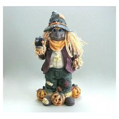 Halloween Scarecrow Decor Halloween Decor Halloween Decoration Spooky... ($19) ❤ liked on Polyvore featuring home, home decor, holiday decorations, halloween home decor and halloween statues