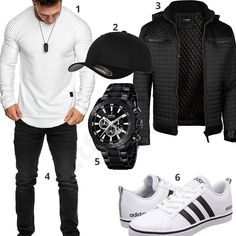 Men's outfit with white Amaci & Sons sweater and Adidas sneakers, black Flexfit cap, Trisens quilted jacket, sporty Festina watch and Reslad jeans. 1. Pullover► amzn.to/2Cc7j3g 2. Cap► amzn.to/2EJNzWg 3. Jacket► amzn.to/2HCHede 4. Trousers► amzn.to/2Cbmslj (-56%) 5. Uhr► amzn.to/2EHe1zK (-30%) 6. Shoes► amzn.to/2CfGvz4