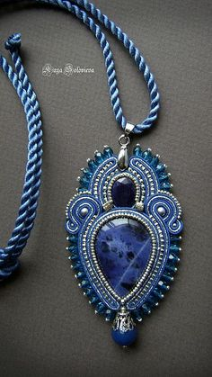 "Soutache blue pendant, Pendant with sapphire and sodalite ""Sorcerer Lake. Soutache Pendant, Soutache Necklace, I Love Jewelry, Jewelry Design, Jewelry Making, Embroidery Jewelry, Beaded Embroidery, Tutorial Soutache, Beaded Jewelry"